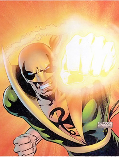 Iron Fist (Marvel Comics) punching, by Byrne