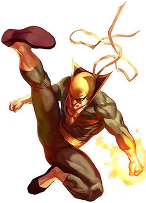 Iron Fist (Marvel Comics) doing a leaping kick