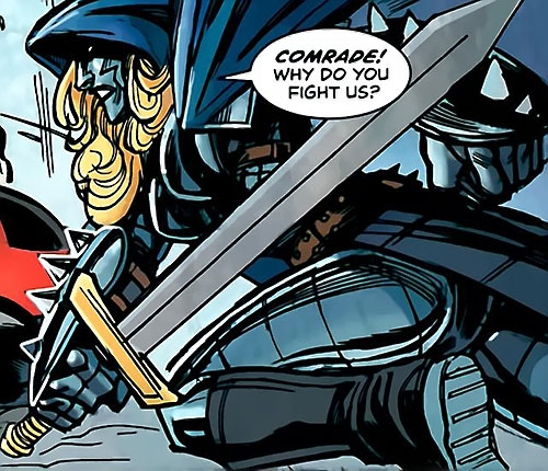 Iron Maiden (Marvel Comics) with a sword