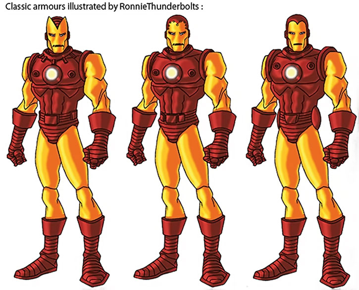 Classic Iron Man armors illustrated by Ronnie Thunderbolt