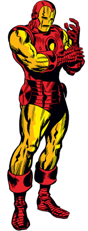 Iron Man Golden Avenger armor (Marvel Comics) 1970s art