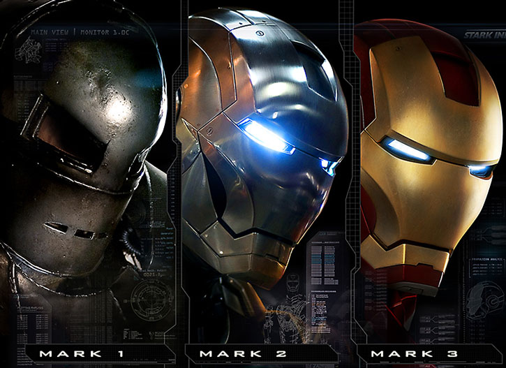 Compared Iron Man helms from the first movie
