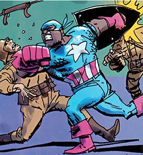 Captain America (Isaiah Bradley) (Marvel Comics Truth) fighting Nazi soldiers