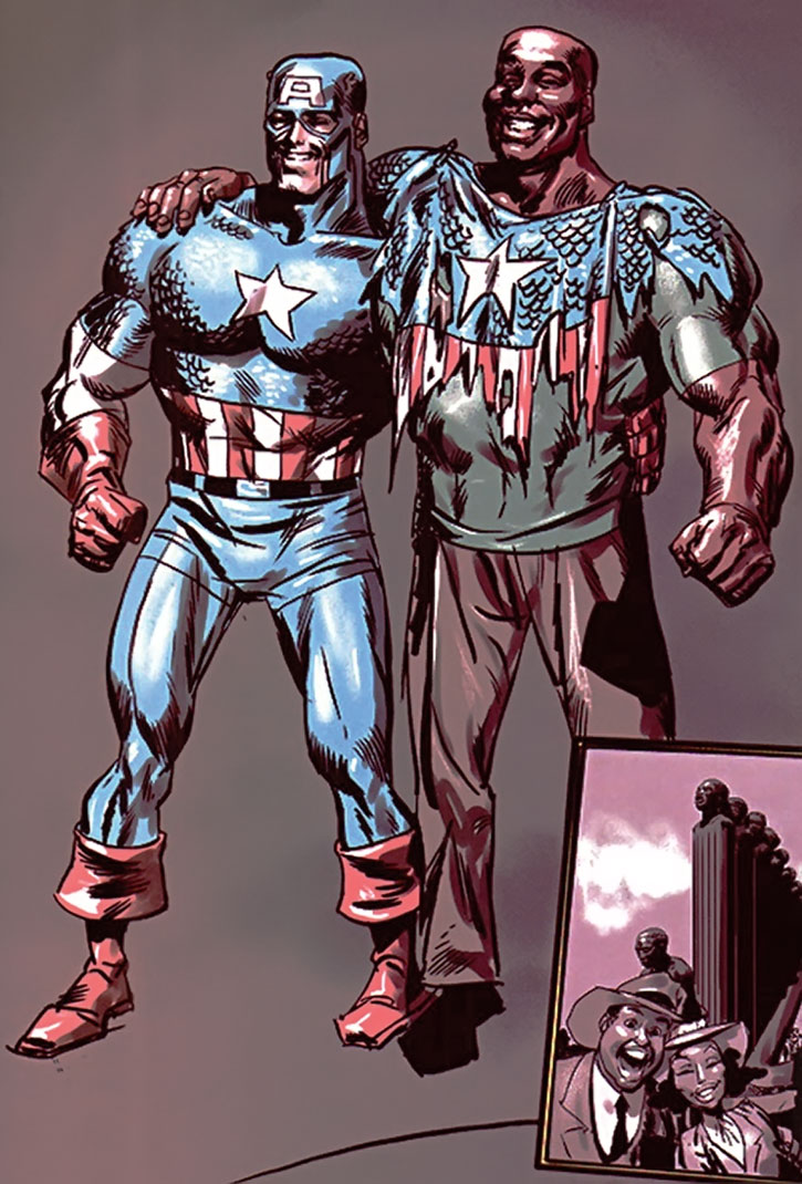 A photo of Isaiah Bradley and Steve Rogers as Captain America