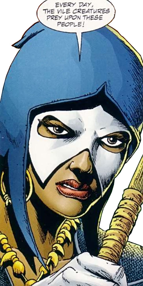 Istar of Babylon (JLA ally) (DC Comics) face closeup