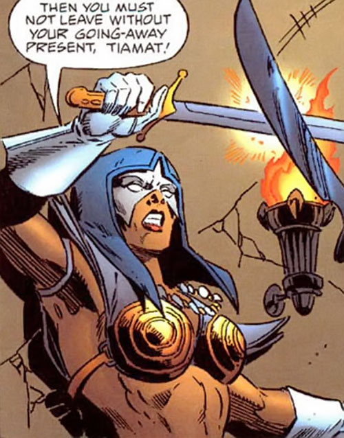 Istar of Babylon (JLA ally) (DC Comics) parrying with her sword