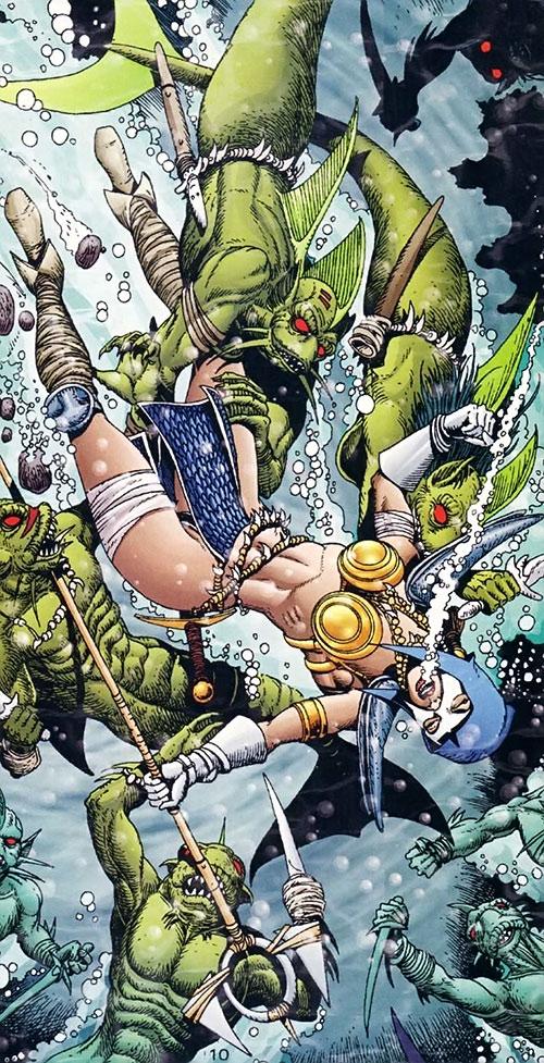 Istar of Babylon (JLA ally) (DC Comics) mobbed underwater by fish-men
