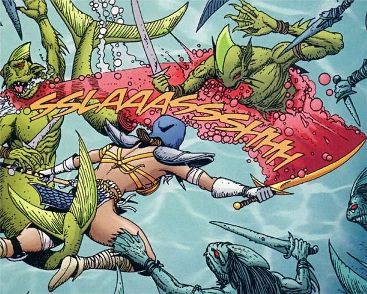 Istar fights fish-men under water