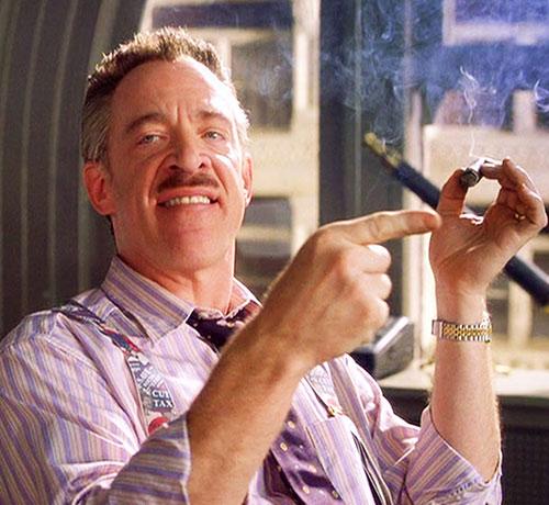 JK Simmons as J Jonah Jameson in Spider-Man movies, smoking a cigar