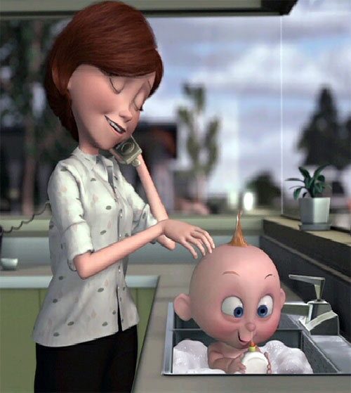 Jack-Jack (The Incredibles baby) with Helen Parr
