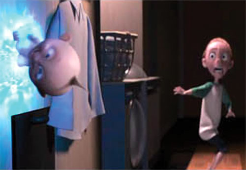 Jack-Jack (The Incredibles baby) sticking to walls