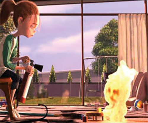 Jack-Jack (The Incredibles baby) burning