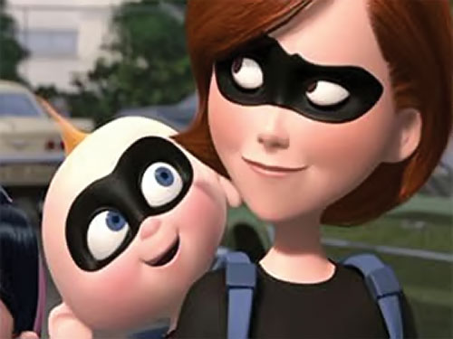 Jack-Jack (The Incredibles baby) and Elastigirl