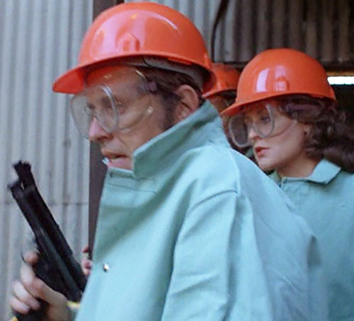 Jack McGee (Jack Colvin in The Incredible Hulk TV series) with tranq pistol and industrial safety clothes