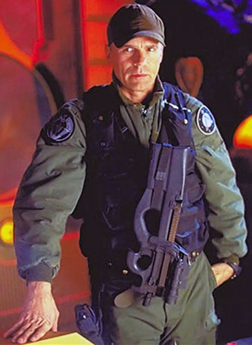 Jack O'Neill (Richard Dean Anderson in Stargate) in NATO green with a P90