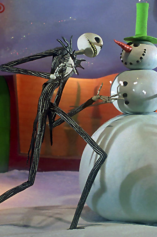 Jack Skellington (The Nightmare Before Christmas) and a snowman