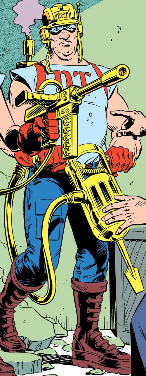 Jackhammer (Demolition Team) (DC Comics) over a green wall