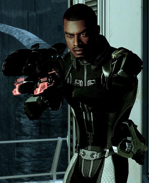 Jacob Taylor (Mass Effect) pointing a shotgun