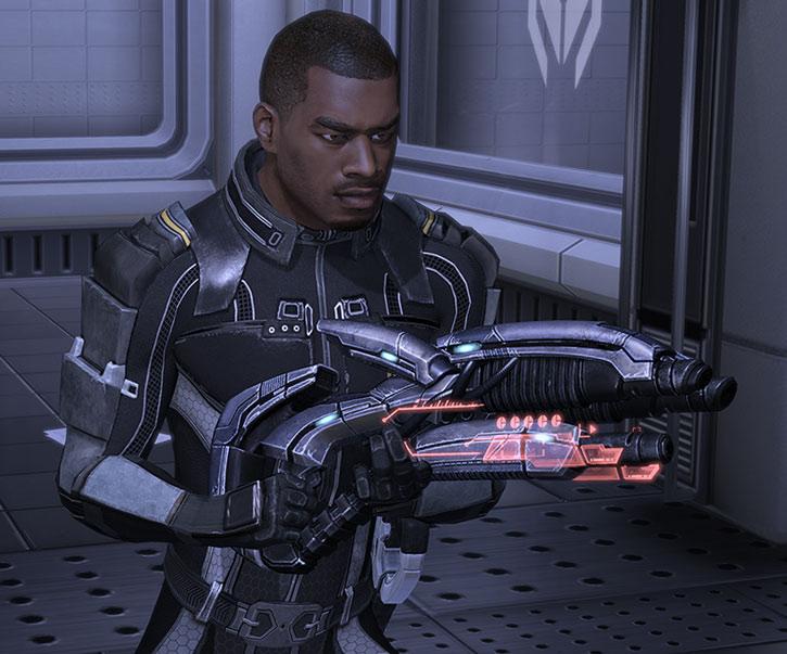 Jacob Taylor with an incendiary geth shotgun
