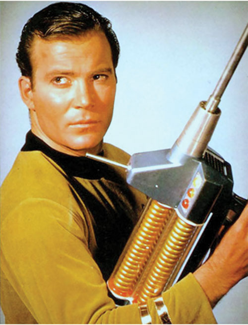 James Tiberius Kirk (William Shatner in Star Trek TOS) with a phaser rifle