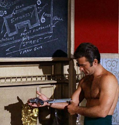 James West (Robert Conrad in Wild Wild West) shirtless testing derringer sleeve ejector