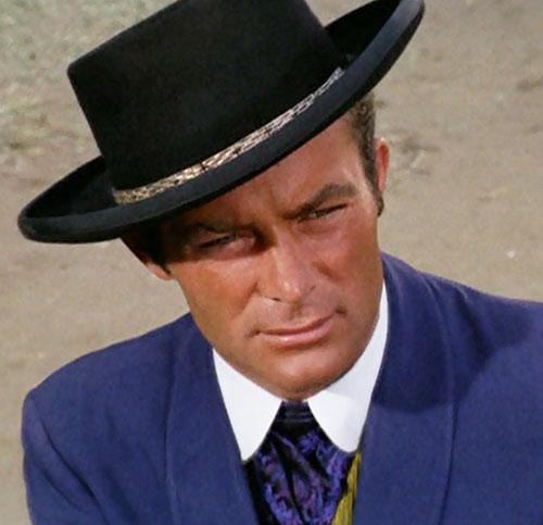 James West (Robert Conrad in Wild Wild West) black hat face closeup