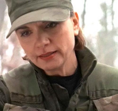 Major Janet Fraiser (Teryl Rothery in Stargate) face closeup in field uniform