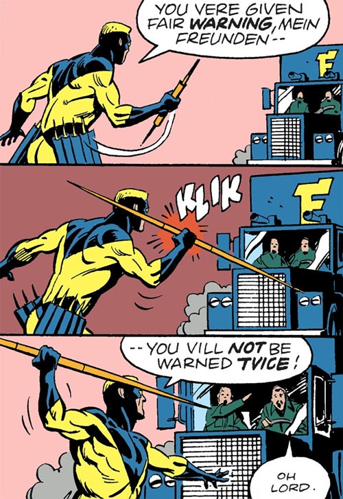 Javelin (DC Comics) stops a truck