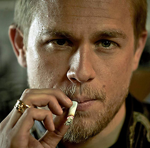 Jax Teller (Charlie Hunnam in Sons of Anarchy) smoking face closeup
