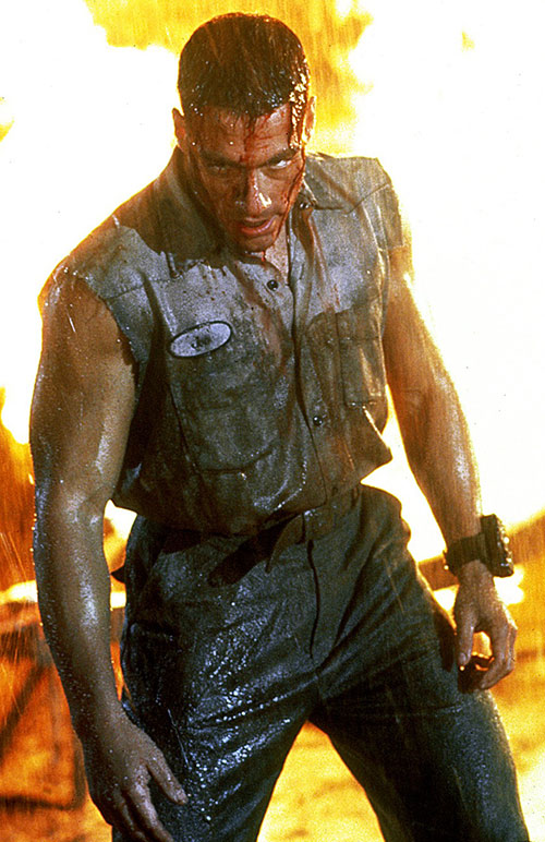 Jean-Claude van Damme wet and wounded