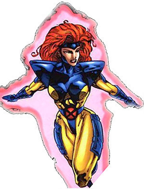 Jean Grey of the X-Men (Marvel Comics) flying in the yellow and blue uniform