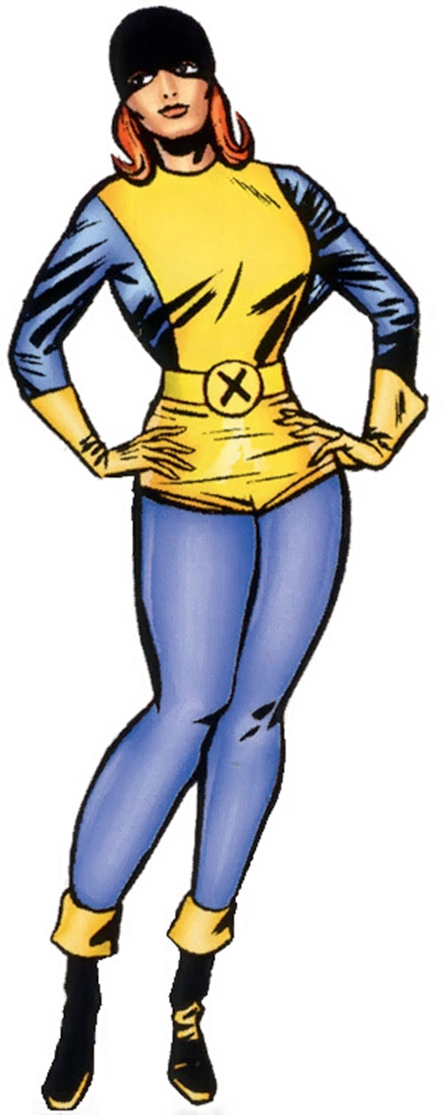 Jean Grey of the X-Men (Marvel Comics) in the early blue and gold uniform