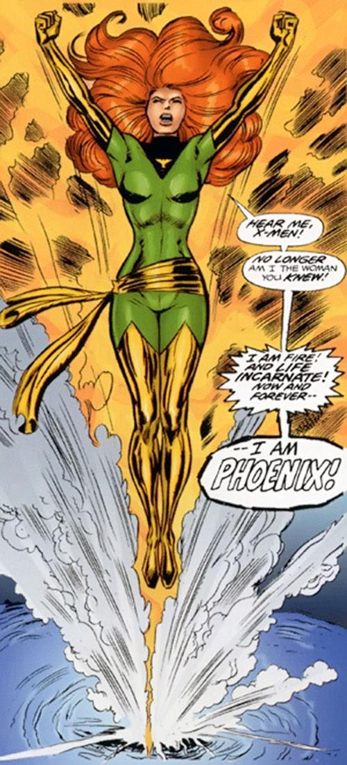 Jean Grey of the X-Men (Marvel Comics) arises as Phoenix
