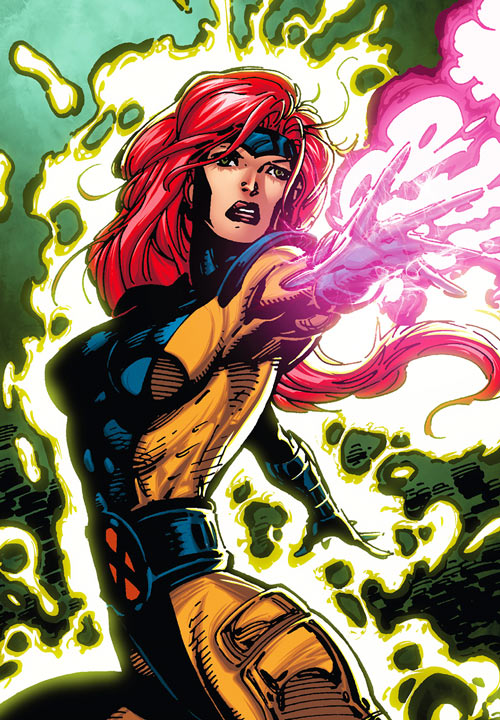 Jean Grey of the X-Men (Marvel Comics) by Jim Lee in the orange and blue costume