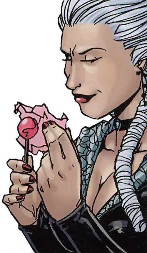 Jeanette of the Secret 6 (DC Comics) with a lollipop