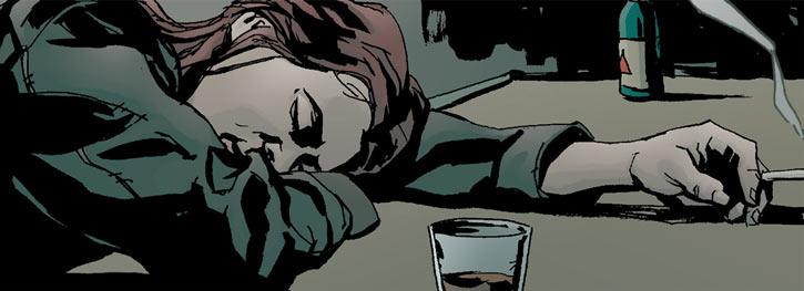 Jessica Jones falling asleep on a bar