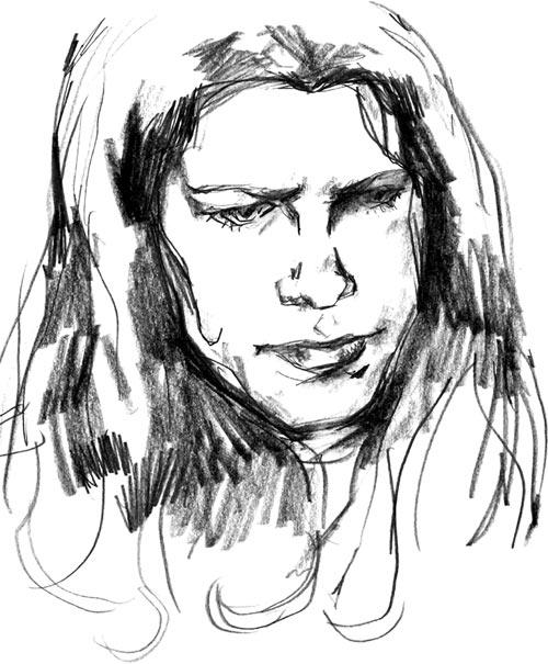 Jessica Jones (Marvel Comics) B&W sketch by Gaydos, portrait