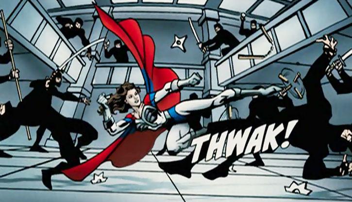 Jetstream (Kelly Preston in Sky High) fighting ninja comic book