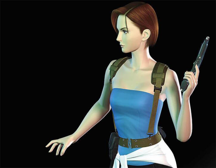 Jill Valentine with blue top and webbing