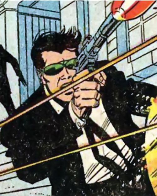 Jimmy Woo of SHIELD (Marvel Comics) in a firefight in a black suit