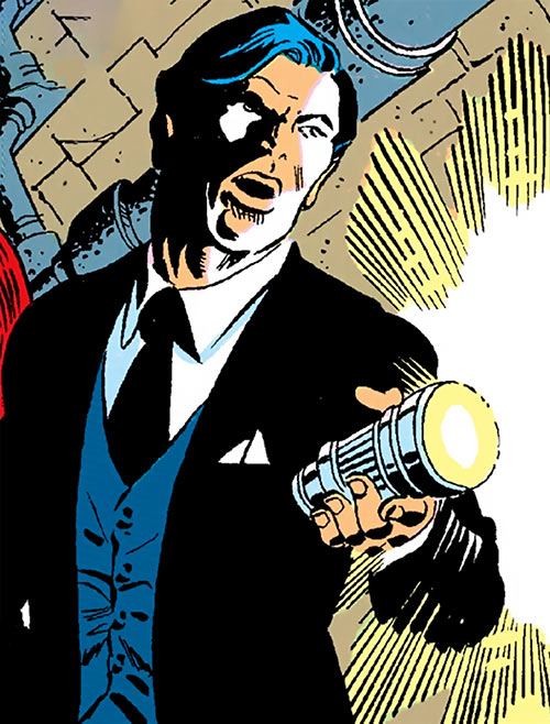 Jimmy Woo of SHIELD (Marvel Comics) in the sewers with a flashlight