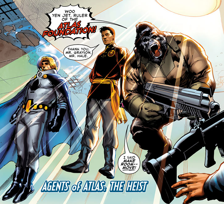 Jimmy Woo as the Atlas khan, with the Uranian and Gorilla-Man