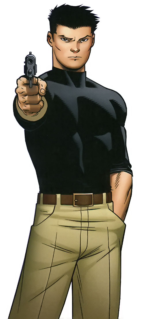 Jimmy Woo of the Agents of Atlas (Marvel Comics) pointing a pistol