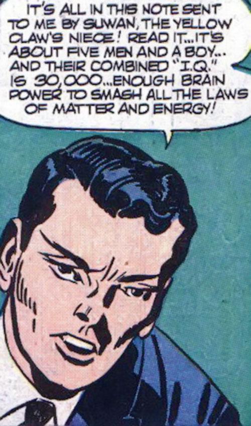 Jimmy Woo (1950s version) (Atlas Comics) explaining rubber science