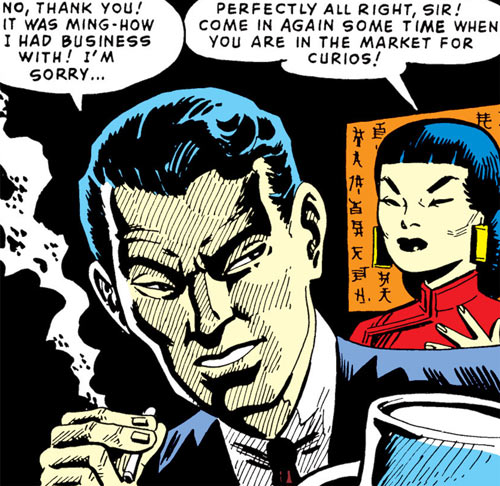 Jimmy Woo (1950s version) (Atlas Comics) smoking and discussing with Su Wan