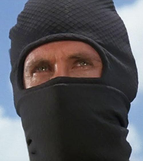 Joe Armstrong (Michael Dudikoff in American Ninja) hooded face closeup