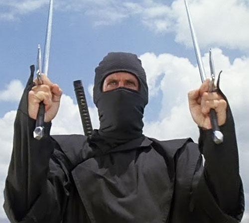 Joe Armstrong (Michael Dudikoff in American Ninja) with paired sai