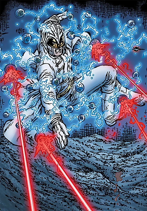 John Horus (Black Summer Avatar Comics) flying and firing multiple laser eyes