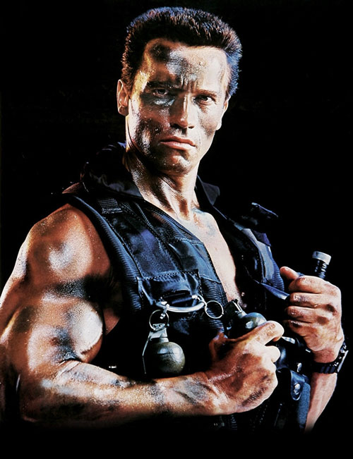 John Matrix (Arnold Schwarzenegger in Commando) over a black background