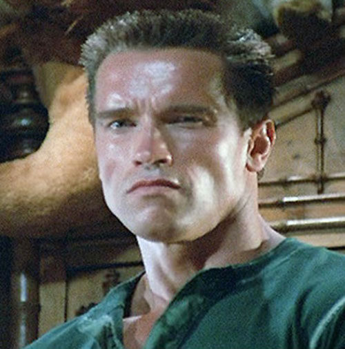John Matrix (Arnold Schwarzenegger in Commando) face closeup in civvies
